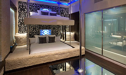 The Star Suite at the Ivy Hotel in San Diego features its own stripper pole, king-size bunk beds and an open shower that turns opaque when touched
