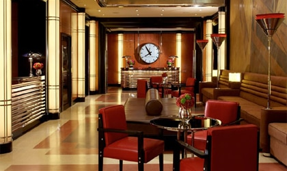 The stylish lobby of The Chatwal, a Luxury Collection Hotel in New York City