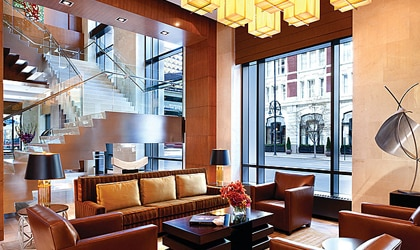 The stylish lobby of the Four Seasons Hotel Denver
