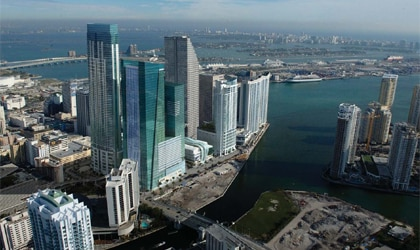 An aerial view of Miami with the JW Marriott Marquis Miami in the foreground