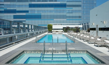The pool deck at the Ritz-Carlton, Los Angeles in Downtown L.A.