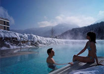 The Mountain Spa's outdoor heated pool is open year round