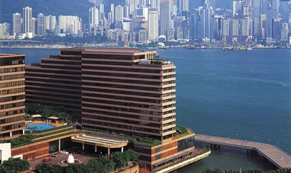 InterContinental Hong Kong perched on the edge of Victoria Harbour