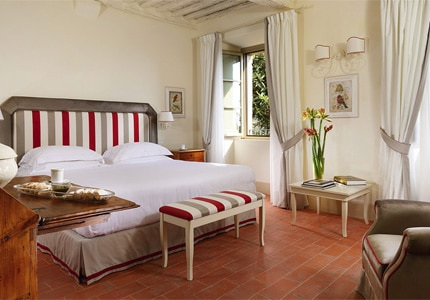 A guest room at Borgo San Felice in Siena, Italy