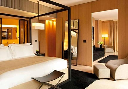 A guest room at Bulgari Hotel Milan, one of GAYOT's Top 10 Hotels in Italy