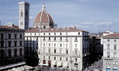 An exterior view of Hotel Savoy in Florence, Italy