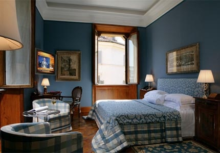 A guest room at Villa Spalletti Trivelli in Rome, Italy