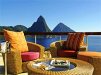 Outside sanctuary dining at Jade Mountain at Anse Chastanet in St. Lucia