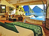Interior of a sanctuary at Jade Mountain at Anse Chastanet in St. Lucia