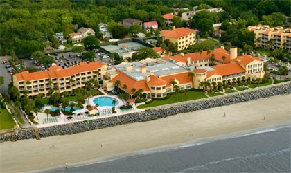 An aerial view of the King and Prince Beach & Golf Resort on St. Simon Island in Georgia