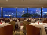 The harbor view in Angelini Italian restaurant at Kowloon Shangri-La in Hong Kong