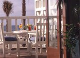 A balcony overlooking Santa Monica beach at Shutters on the Beach
