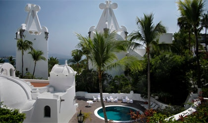 An exterior view of Las Hadas Golf Resort and Marina in Mexico