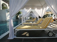 Poolside cabanas at Las Hadas Golf Resort and Marina in Manzanillo, Colima