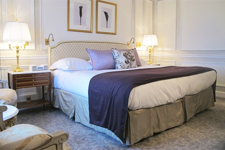 A guest room at Le Meurice in Paris, France, a member of the exclusive Dorchester Collection