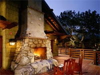 Cozy outdoor fireplace at The Lodge at Torrey Pines in La Jolla, California