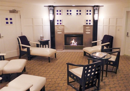 Relax in the tranquil waiting room of The Spa at Torrey Pines in La Jolla, California