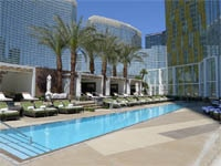 The pool and cabanas at Mandarin Oriental, Las Vegas in Nevada