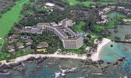 An aerial view of Mauna Lani Bay Hotel and Bungalows on the Kohala Coast of the Big Island of Hawaii