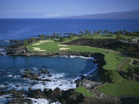 South Course 15th Hole of Mauna Lani Bay Hotel and Bungalows on the Kohala Coast of the Big Island in Hawaii