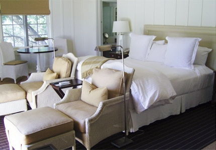 A guest room at Meadowood Napa Valley, one of GAYOT'S top-rated hotels in Napa/Sonoma, CA