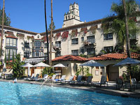 Lovely pool area of El Agua Azul at the Mission Inn Hotel & Spa in Riverside, California