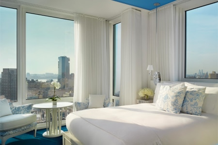 A guestroom at Mondrian SoHo, one of GAYOT'S top rated hotels in New York