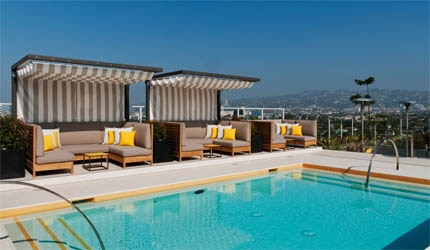 The rooftop pool at The Hotel Wilshire in Los Angeles, California