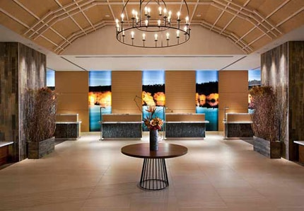 The stylish front deask area of the JW Marriott Indianapolis