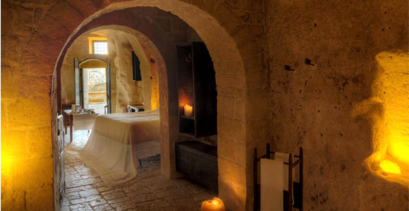 Sleep in ancient cave dwellings at Le Grotte Della Civita in Italy, one of GAYOT's Top 10 Extreme Hotels in the World