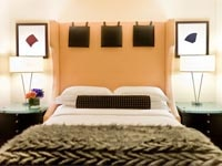 A stylish guest room at Nine Zero hotel in Boston, Massachusetts