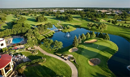 An aerial view of Hilton Chicago/Oak Brook Hills Resort & Conference Center in Illinois