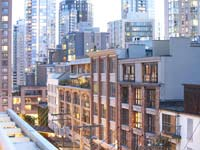 Vibrant Yaletown District surrounding Opus hotel in Vancouver, Canada
