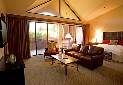 A guest room at the Lodge at Ventana Canyon, one of GAYOT's Top 10 Golf Hotels in Tucson