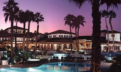 The sun sets over the plaza of Omni Rancho Las Palmas, a resort for all ages in Rancho Mirage, CA