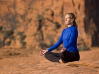 A woman in a yoga pose at the Red Mountain Spa