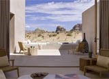 A guest room view at Amangiri in Canyon Point, Utah
