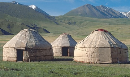 Traditional Nomadic yurts in Kyrgyzstan