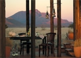 A dining area at Wolwedans Private Camp in Namibia