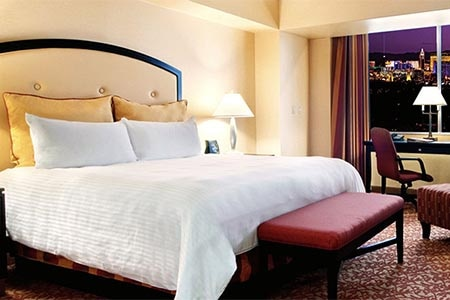 A guest room at the Westgate Las Vegas Resort & Casino LVH in Las Vegas, Nevada