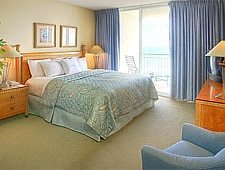 A guest room at Doubletree Ocean Point Beach Resort & Spa in Sunny Isles Beach, Florida