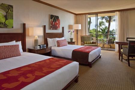 A guest room at the Hyatt Regency Maui Resort & Spa in Lahaina, Hawaii