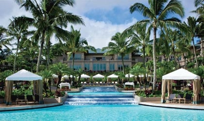 The Ritz-Carlton, Kapalua, set on a cliff towering over the ocean in Maui