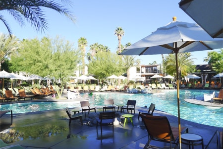 Find a tranquil envrionment at the pool at Riviera Palm Springs, one of GAYOT's Top 10 Spa Hotels in Palm Springs, CA
