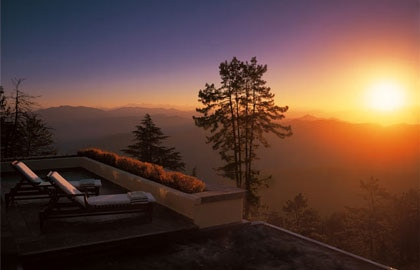 A terrace view at Wildflower Hall in the Himalayas