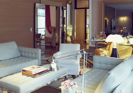 Suite lounge at Le Royal Monceau - Raffles Paris, one of GAYOT's Top 10 Romantic Hotels Worldwide