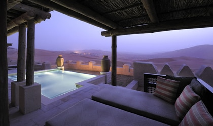 Excellent views of the Liwa Desert greet guests at the Qasr Al Sarab Desert Resort in the United Arab Emirates