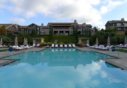 A view from the pool at Rosewood Sand Hill resort in Menlo Park, CA