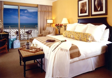 A guest room at Sandpearl Resort, one of GAYOT's top-rated hotels in Tampa Bay
