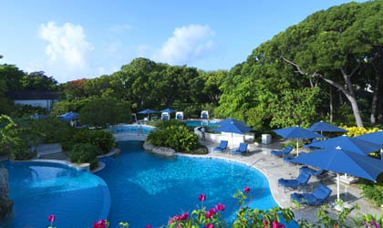 Poolside at Sandy Lane in St. James, Barbados
